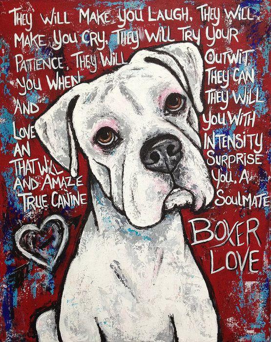 boxer love   Boxer Love Print By Stephanie Gerace