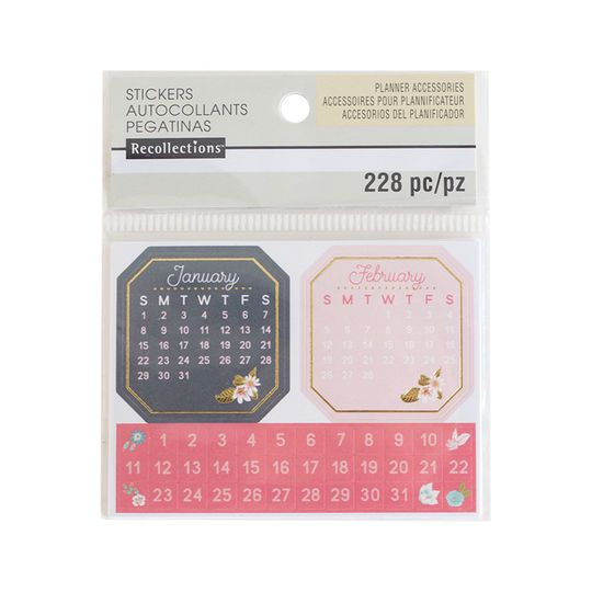 Floral Mini Calendar Stickers By Recollections