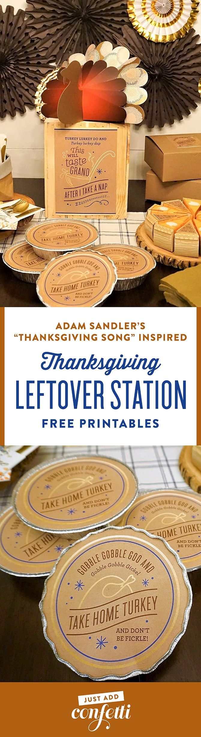 Thanksgiving leftover station, thanksgiving leftover printable tags, leftover printables, leftover free printables, free printables, just add confetti, just add confetti free printables, adam sandler, thanksgiving song, turkey for me, turkey for you, legally crafty blog, collaboration, blogger collaboration