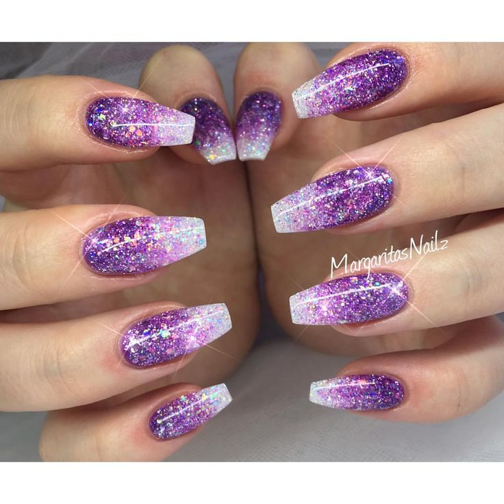 Purple glitter ombré nails