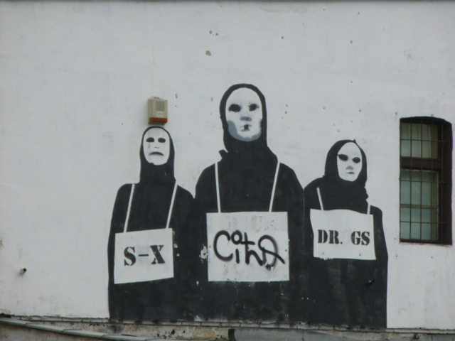 Poznan, Poland - graffiti on a building wall