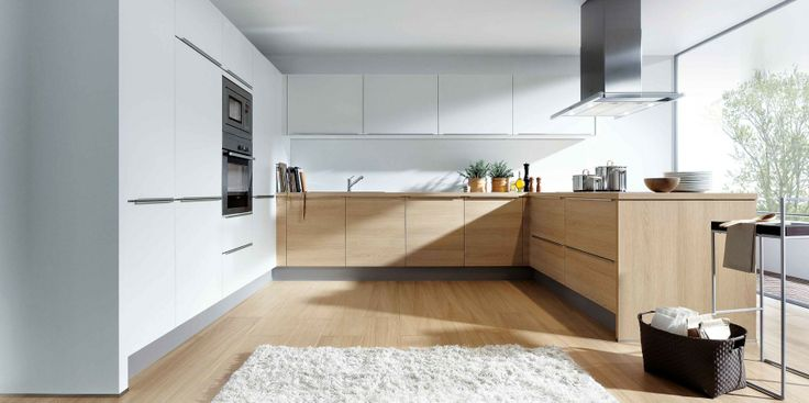 Kitchen in light oak and white