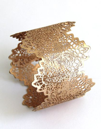 lace bangle - etched brass which has then been rose gold plated. Lovely delicate effect.