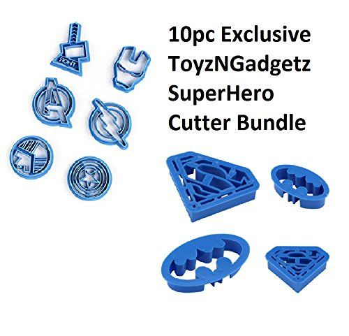 Cookie Creations Superman, Batman, Thor, Iron Man, The Flash, Captain America, Shield, Avengers Superhero Cookie Stamp Fondant Cutter Set (10 pack)  WHAT YOU GET WITH THIS TOYZNGADGETZ BUNDLE: Each set includes 10 cookie fondant stamp cutters: 1 x Large Superman, 1 x Small Superman, 1 x Large Batman & 1 x Small Batman, 1 x Thor, 1 x Iron Man, 1 x Avengers, 1 x Captain America, 1 x The Flash, 1 x Shield  DESIGNED TO BE EASY TO USE & KEEP YOUR KIDS ENTERTAINED: Easy to use. Use this to m...