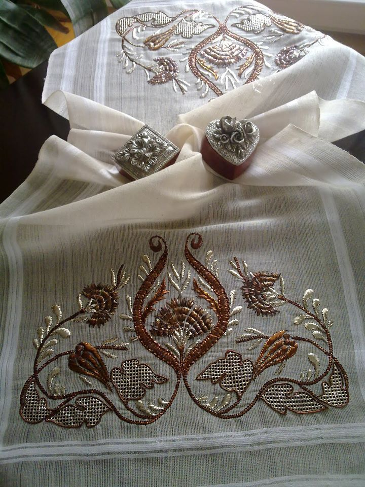 Appears to be middle-eastern style embroidery on a very light weight linen (batiste?)