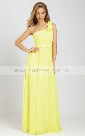 Chiffon One Shoulder Natural Sheath Floor-length Bridesmaid Dresses 0740338--Hodress
