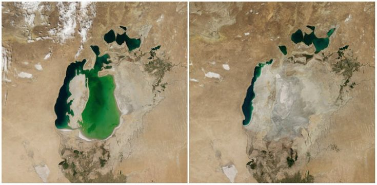 Aral Sea, Central Asia. August, 2000 — August, 2014