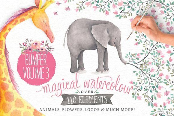 40% off! Magical Watercolors vol 3 by Lisa Glanz on @creativemarket Mrs Giraffe is a special creature with a beautiful gentle nature. Despite her towering height, she loves all her friends, even tiny little Mouse. They're all eagerly waiting to be included in your next creative quest!
