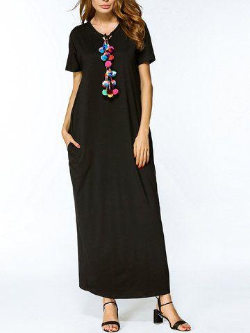 Casual Women Short Sleeve Loose Long Maxi Dresses