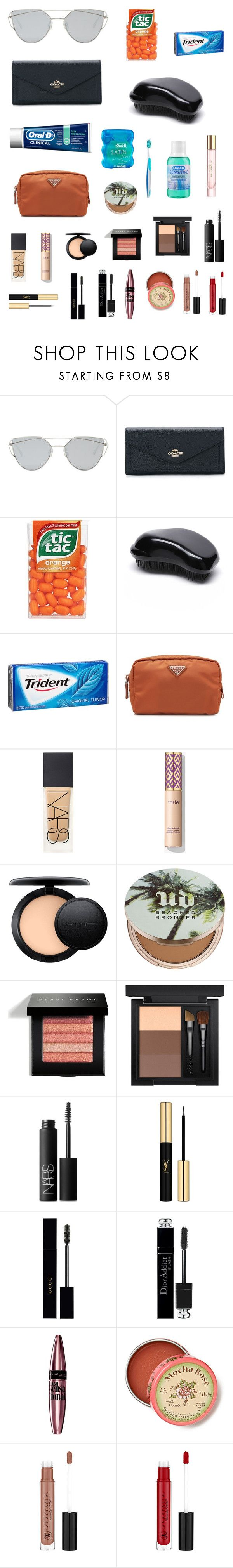 """Sem título #2294"" by clarinha13 ❤ liked on Polyvore featuring Gentle Monster, Coach, WithChic, Oral-B, Prada, NARS Cosmetics, MAC Cosmetics, Urban Decay, Bobbi Brown Cosmetics and Yves Saint Laurent"
