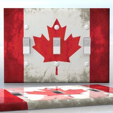 DIY Do It Yourself Home Decor - Easy to apply wall plate wraps | Grunge Canadian Flag  Old Canadian flag pattern  wallplate skin sticker for 3 Gang Toggle LightSwitch | On SALE now only $5.95