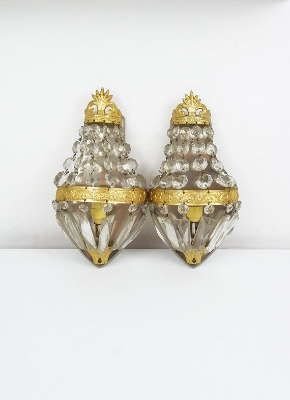 2 Vintage Crystal Sconces Wall By FlorenceMercato
