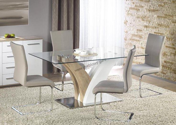 Nowoczesny stół Vilmer będący połączeniem płyty MDF i szkła hartowanego.