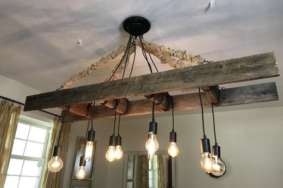 Vintage Farmhouse Ladder Chandelier With Edison Bulbs Made With