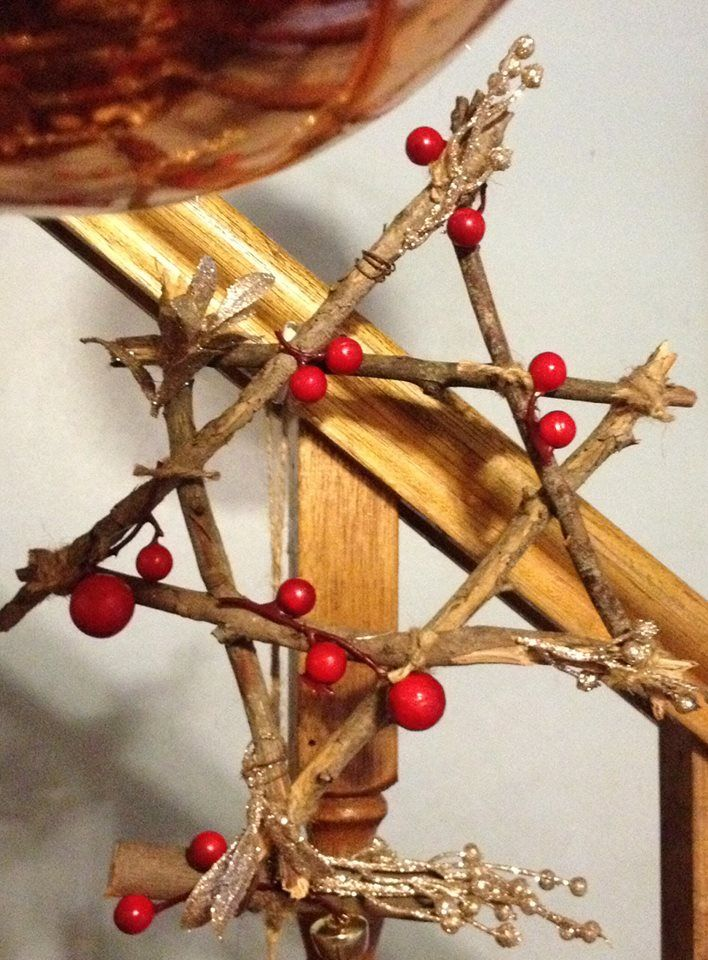 Here's our Xmas star for our tree I made form sticks and a few red berries