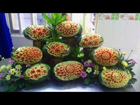 Hướng dẫn tỉa dưa hấu nghệ thuật - tỉa hoa quả | Great art by carving wa...
