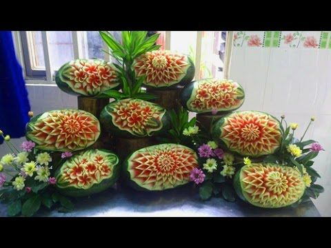 Hướng dẫn tỉa dưa hấu nghệ thuật - tỉa hoa quả   Great art by carving wa...