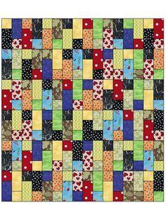 Fat quarter scrapbog quilt pattern from www.fabriccafe.com.