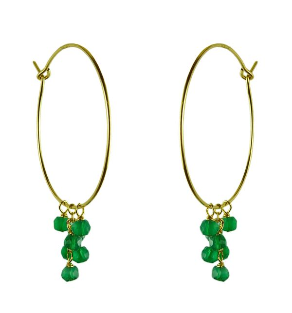 Mounir 14ct gold filled hoop earrings with a cluser of green onyx faceted beads. Retailing at £52. http://www.mounir.co.uk/index.php?route=product/product&path=60_113&product_id=801&limit=100 #mounir #jewellery #hoops #earrings #greenonyx #14ct #goldfilled