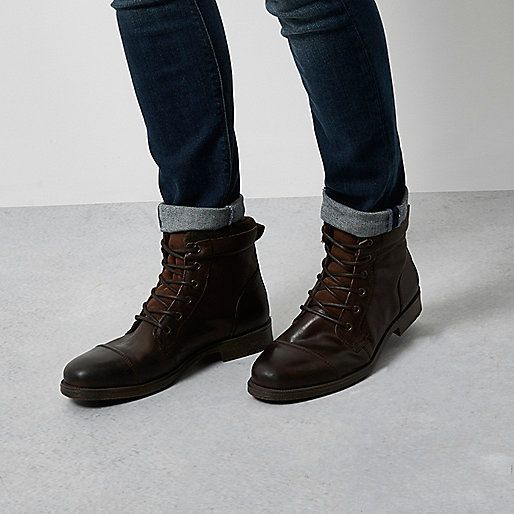 Dark brown leather work boots - shoes / boots - sale - men