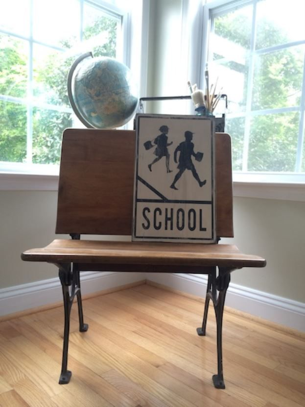 School Crossing hand painted vintage inspired road sign by Barn Owl Primitives - perfect gift for Teacher Appreciation or End of Year! Would look so cute in a home school room or classroom.