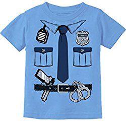 Police Cop Uniform Halloween Costume Policeman Suit Toddler/Infant Kids T-Shirt 5/6 California Blue
