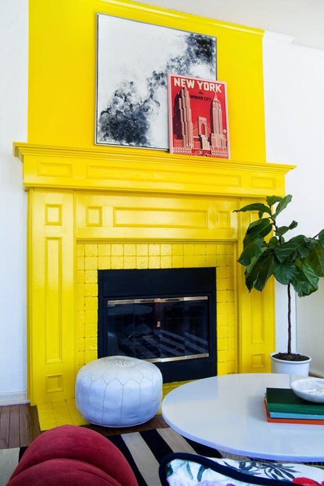You Re About To See This Color Everywhere Fireplace Makeover Yellow Kitchen Yellow Interior