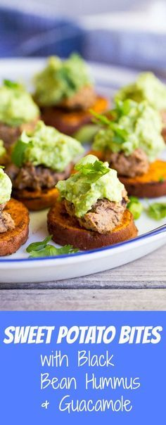 These Sweet Poato Bites with Black Bean Hummus & Guacamole are packed with so much flavor and make for a perfect appetizer!  Gluten free and vegan too!