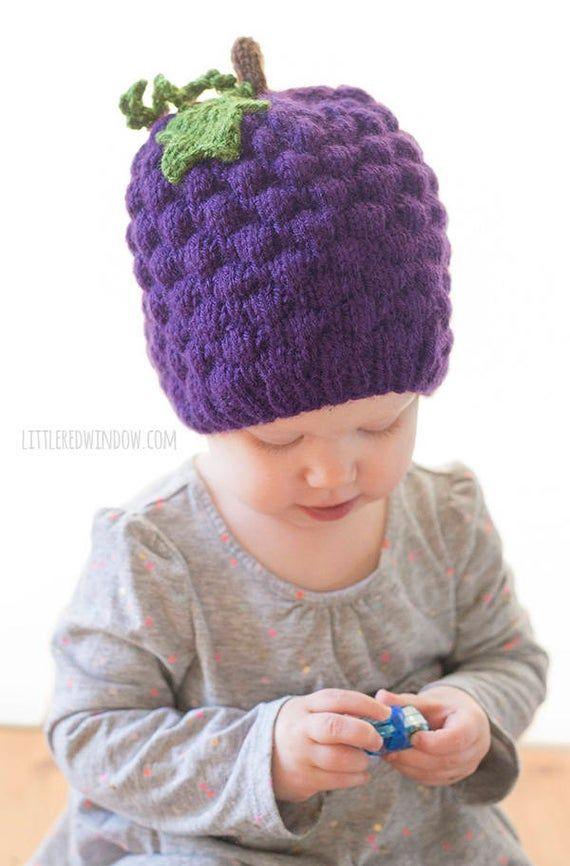 Baby Grape Hat Knitting Pattern Knit Grape Hat Pattern Etsy Knitted Hats Hat Knitting Patterns Baby Hat Knitting Pattern