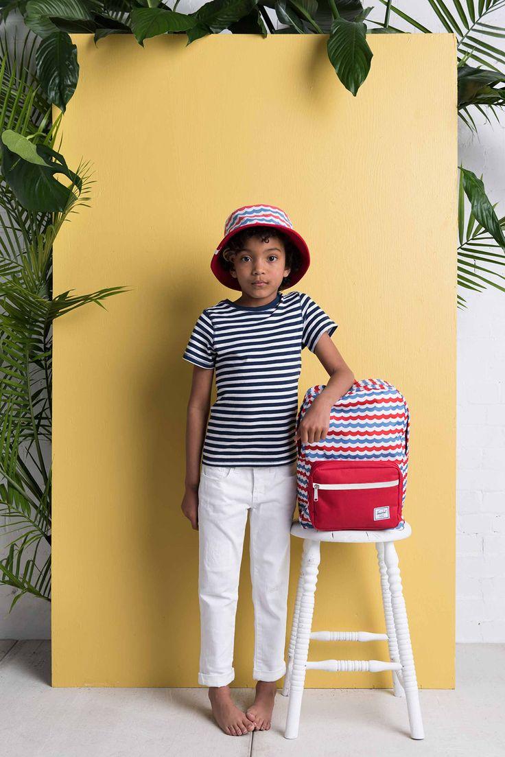Youth Bucket Hat / Pop Quiz Kids Backpack – Mariner Stripe