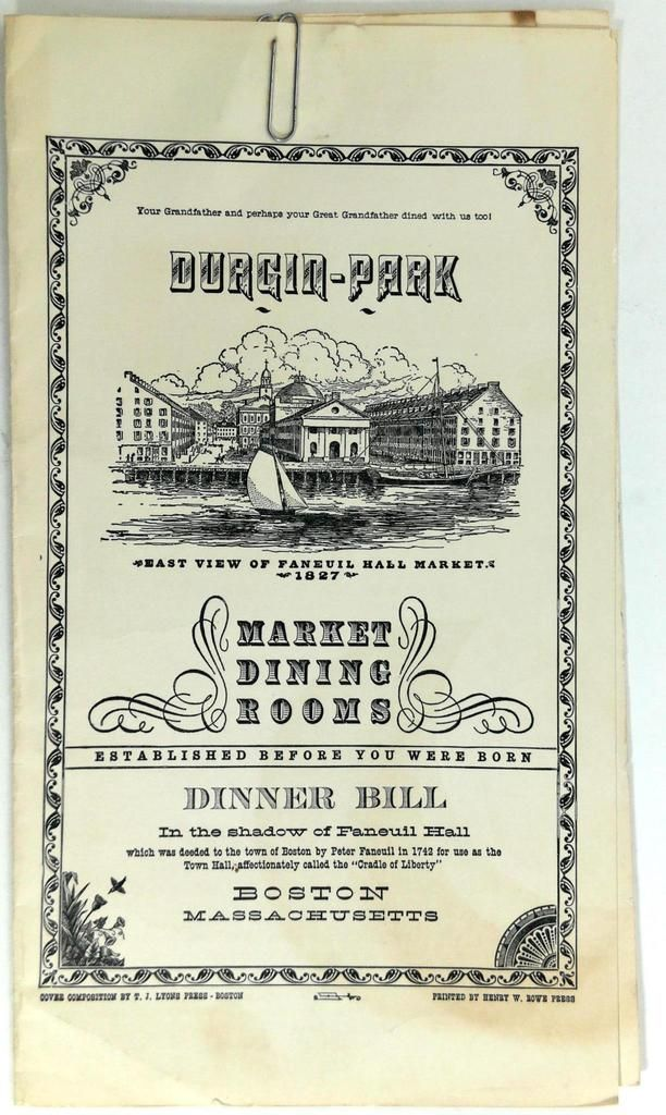 1950's DURGIN PARK Market Dining Room Restaurant Menu