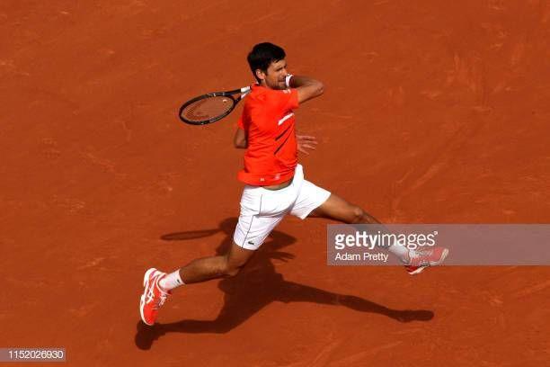 Novak Djokovic Of Serbia Plays A Forehand During His Mens Singles First Round Match Against Hubert Hurkacz Of Poland During Day Two O Novak Djokovic Men Serbia