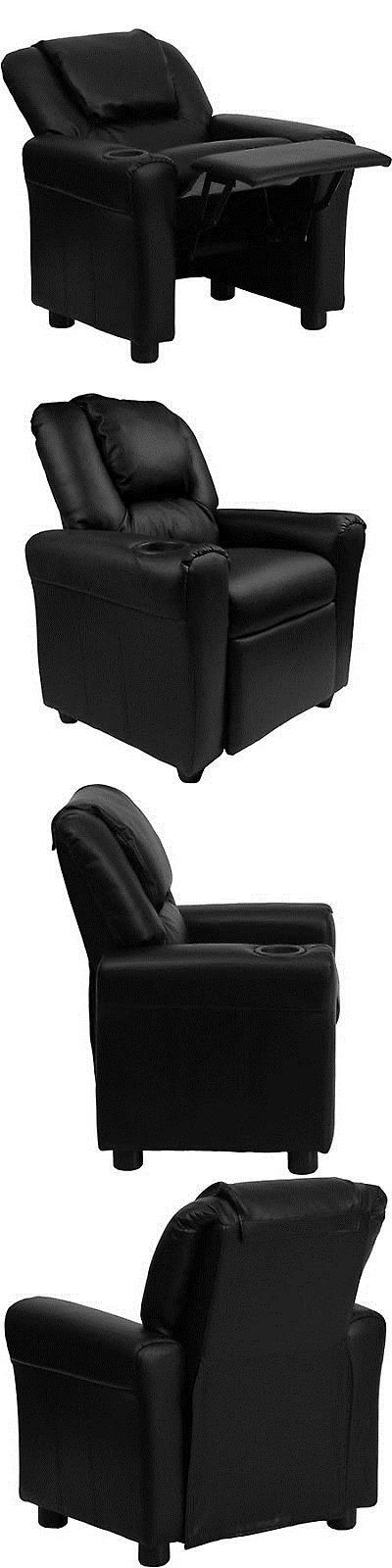 Sofas and Armchairs 134648: Kids Recliner With Cup Holder And Headrest Toddler Padded Armchair Black Vinyl New -> BUY IT NOW ONLY: $94.16 on eBay!