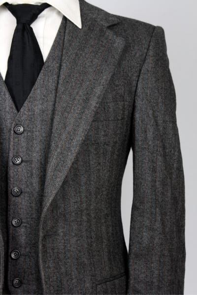 Sharp and dressy grey herringbone (try flannel with suede elbow patch or accenting color herringbone like navy blue)