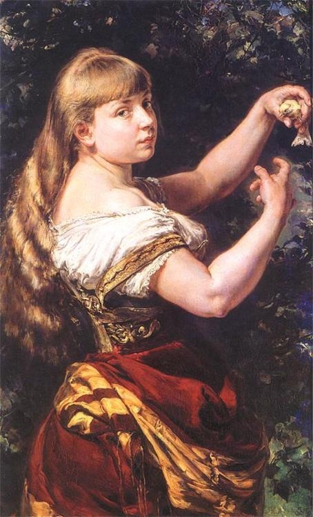 Portrait of the Artist's Daughter Beata with a Canary - Jan Matejko