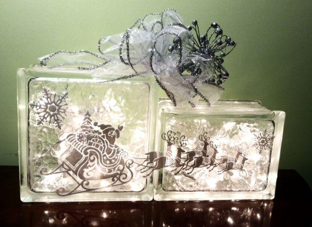 Lighted Glass Block Santa S Sleigh Glassblock