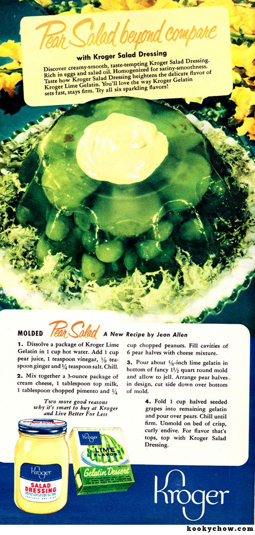Molded Pear Salad.  Chopped pimentos and peanuts in lime Jell-O made this a pear salad beyond compare.