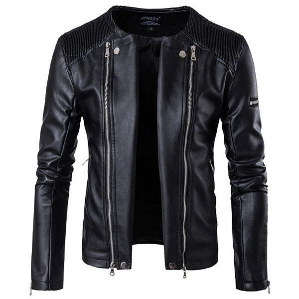 Black Motorcycle Zipper Plus Size PU Leather Jacket Coat ($62) ❤ liked on Polyvore featuring men's fashion, men's clothing, men's outerwear, men's coats, men's apparel, plus size mens clothing and mens clothing