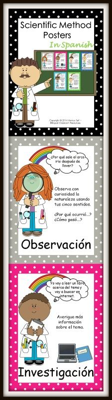 Scientific Method Posters In Spanish. These posters describe each step of the scientific method in detail while explaining how to perform an experiment to investigate why rainbows appear after it rains.    This package includes:  Observación  Investigación  Hipótesis  Experimento  Resultados  Conclusión