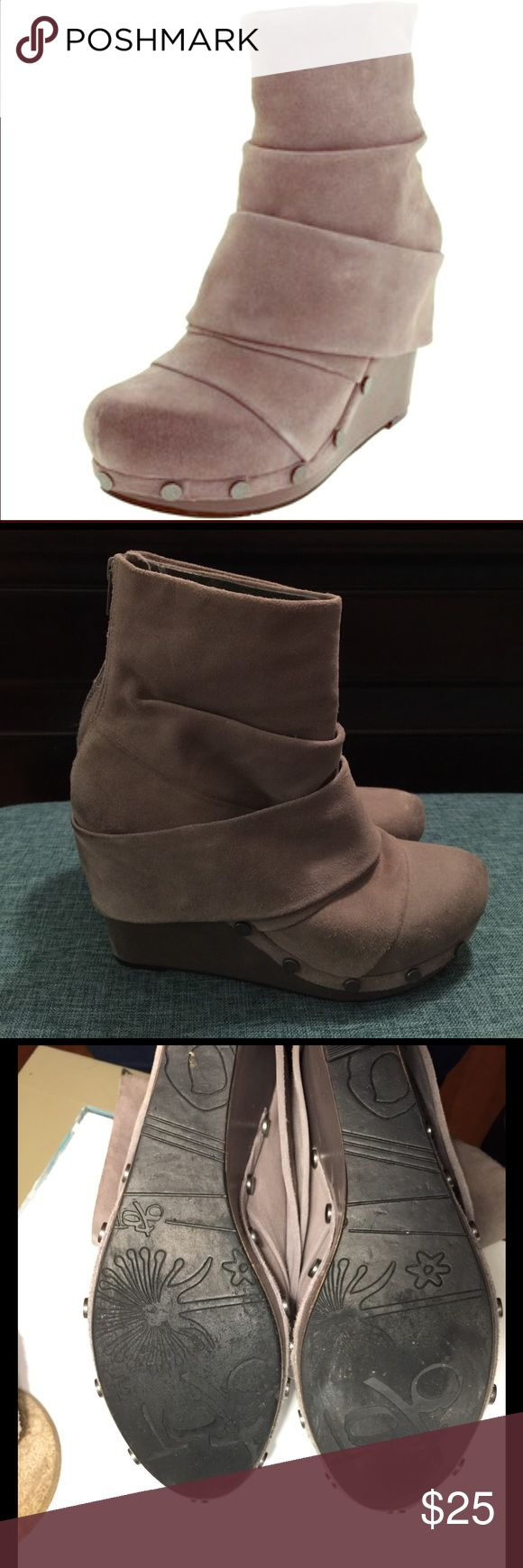 "OTBT ""Arcola"" gray suede boots OTBT distressed gray suede platform wedge ankle boots size 9, have some wear on heels and toes but still lots of wear in them! OTBT Shoes Ankle Boots & Booties"