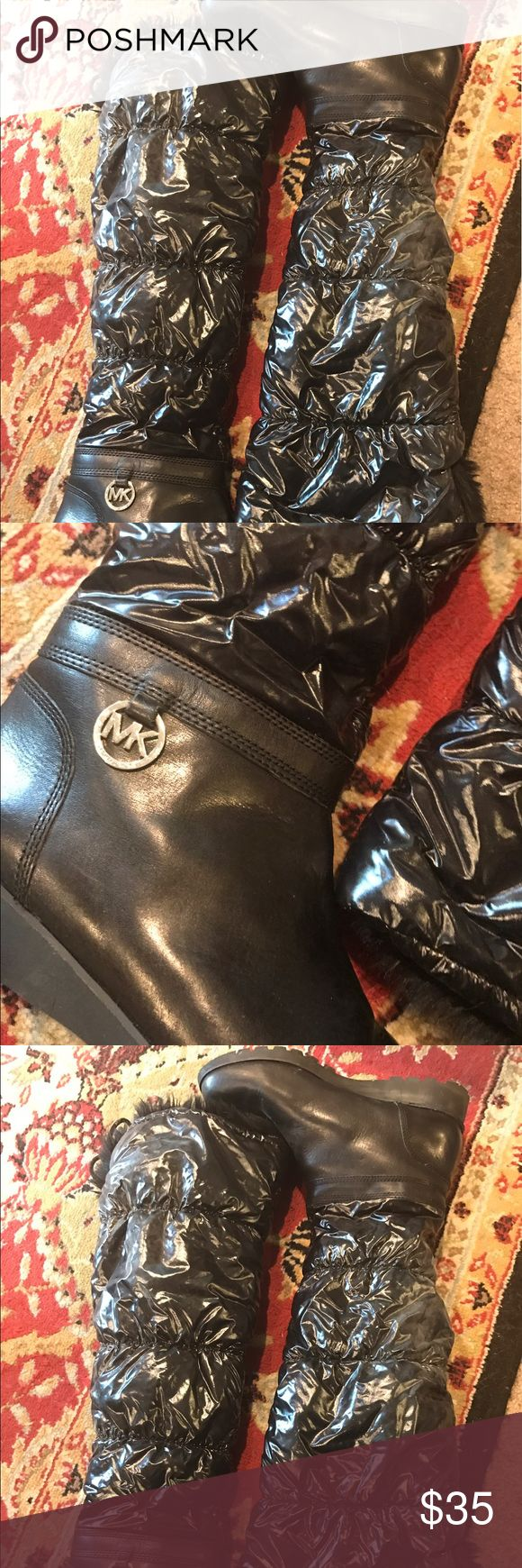 Mk boots slightly over the knee. Fantastic!! Almost new. Used once. Great winter boot. Michael Kors Shoes Winter & Rain Boots