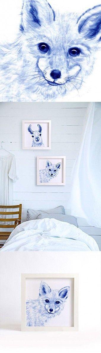 FOX ART PRINT - Curious Fox Watercolor Painting, Blue Fox Fine Art Print, Chinoiserie Art, Indigo blue animal drawing, Asian wall decor