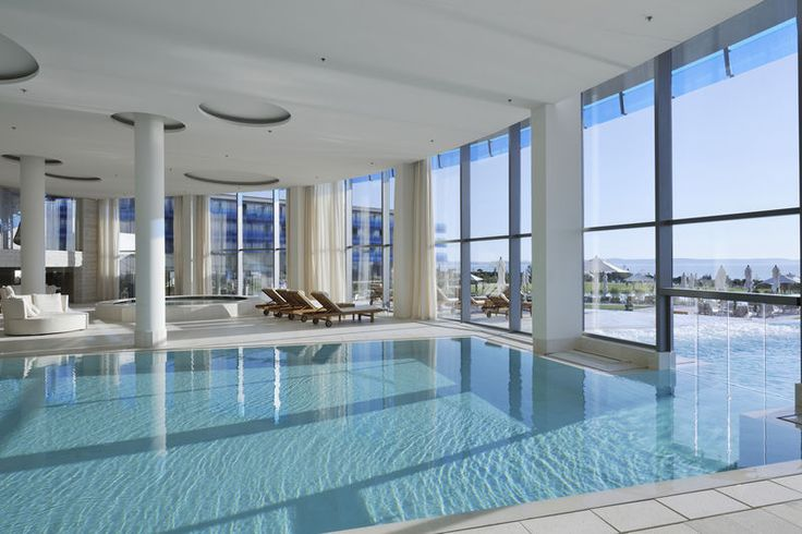 """The name, Italian for """"pure water,"""" is a nod to the seafront locale, but it's the views that are best of all: The two-story Turkish hammam fronts the gardens and the sea, while the outdoor freshwater and brine pools and hut-like clay sauna come with fab vistas of the Zadar Islands. #spa #flyideas"""