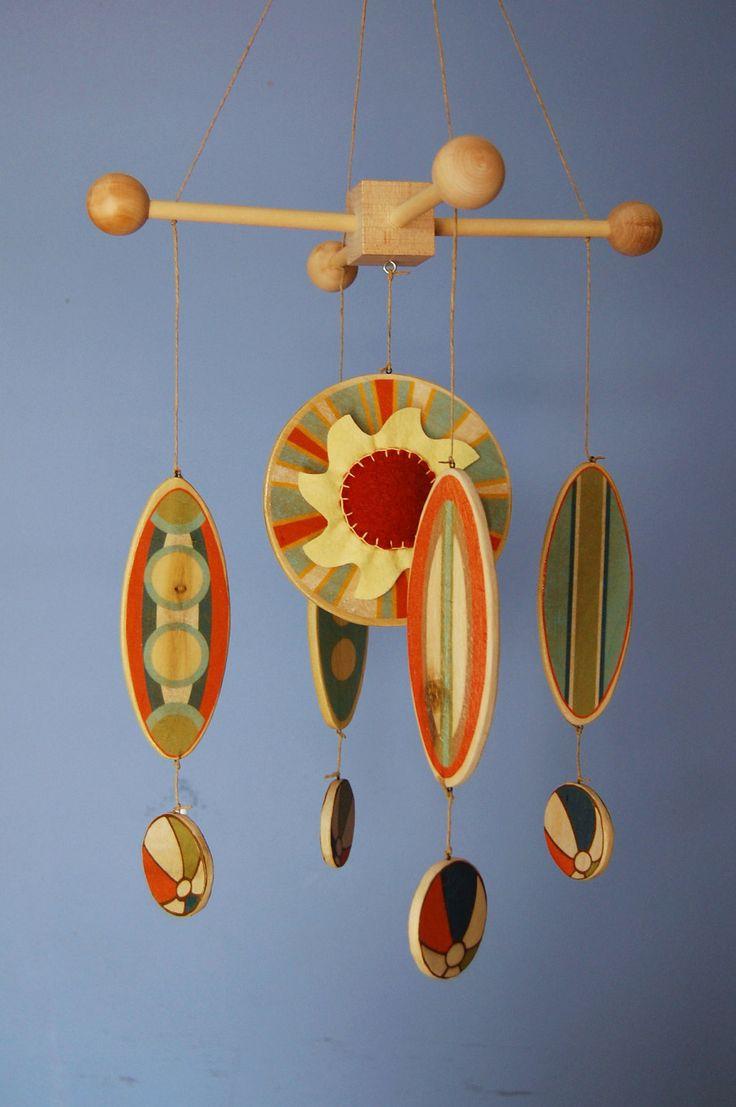 Baby Mobile BABYTALK Magazine - California Sun Mobile - Wood Surfboard Mobile - Beach Room Decor.