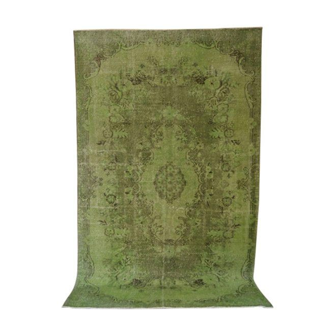 Vintage Green Over Dyed Turkish Rug