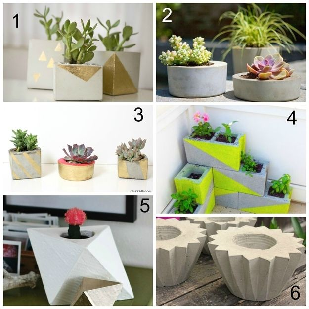 Planters | 22 Seriously Cool Cement Projects You Can Make At Home