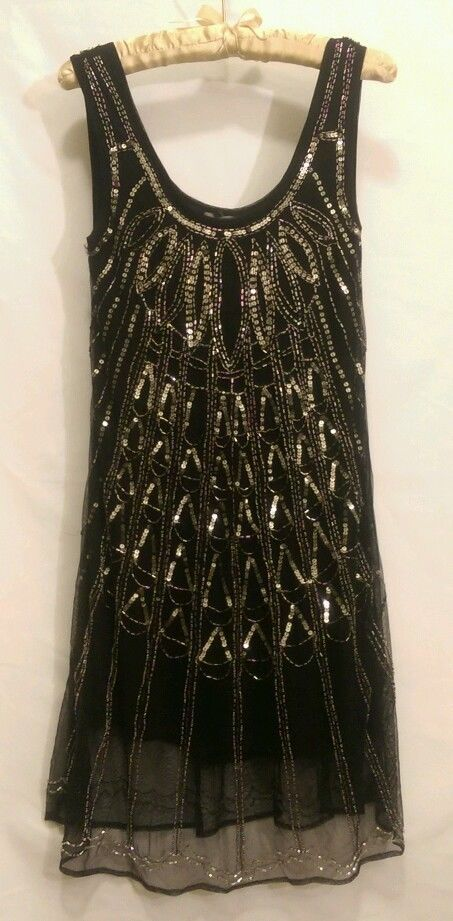Hand Beaded Black Sequin Deco Dress Sheer Size M Party Cocktail Party Formal #Angie #Evening #Cocktail  79.99: