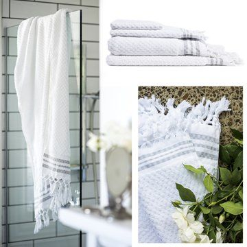 Boutique Organic Cotton TowelsThe ultimate in bathroom luxury! Hand loomed, GOTS certified organic cotton towelsSuper thick, soft and luxurious. Squares of looped cotton are hand woven through a flat weave base, making these towels exceptionally durable. They are expected to last for a minimum of 20 years!Reward your senses with sustainable luxury. Woven on old-style looms with shuttles, these boutique towels are made by the last two families of weavers in Turkey who still know how to do