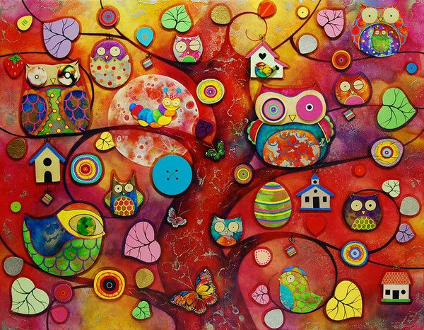 'Night Owls, Early Birds' by Kerry Darlington. A Unique Edition Print with mixed media 3D elements.   Available at Wyecliffe: http://wyecliffe.com/collections/kerry-darlington-art/products/night-owls-early-birds-darlington