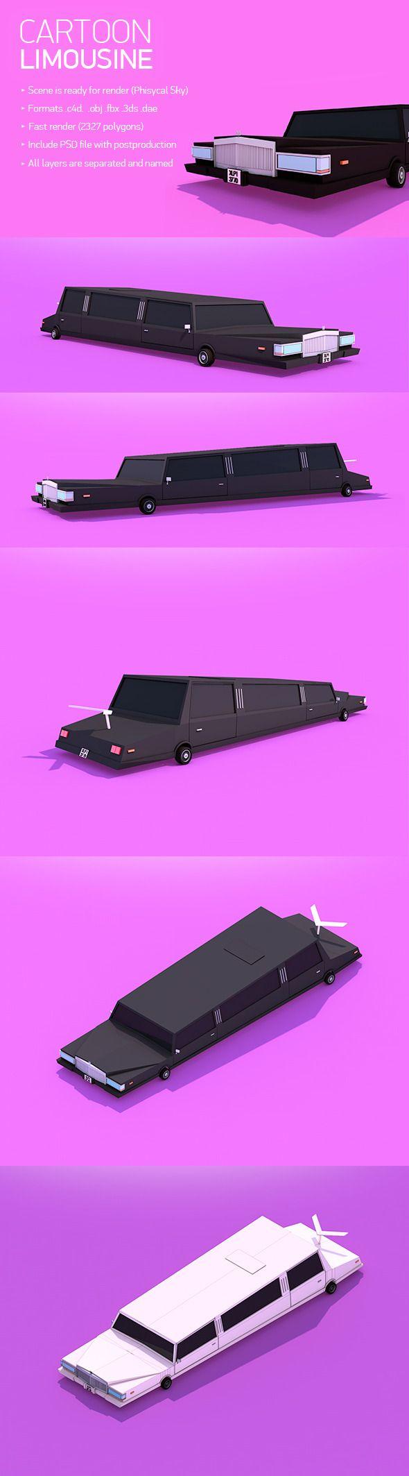 Low Poly Cartoon Limousine 3D Models Design Template #cinema4d #3D Download here: https://3docean.net/item/cartoon-limousine/12757050?ref=yinkira